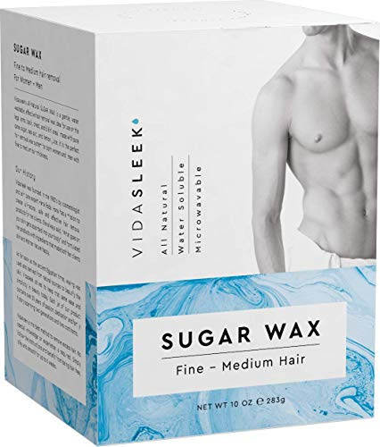 Hair Removal Sugar Waxing Kit Men + Women, All Natural (10 - Male Back Hair Removal