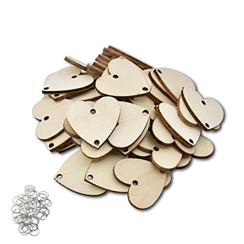 ElekFX Family Birthday Calendar Ornament 50Pack Hanging Calendar Wooden Heart Discs & Ring for Birthday Reminder Plaque Home Decor