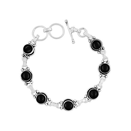 Genuine 7mm Round Shape Black Onyx Link Bracelet 925 Silver Overlay Handmade Jewelry for Women Girls
