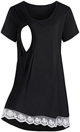 Saifeier Pj Womens Short Sleeve Maternity Dress Empire Waist Nursing Breastfeeding Dress Summer Black M Buy Online At Best Price In Uae Amazon Ae