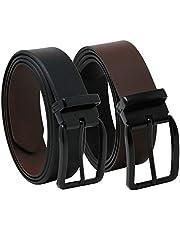 Overwall Cinturón Casual de Cuero para Hombre Hecho en México - Reversible Color Negro y Café con Hebilla Clásica de Alta Calidad (1 pz).