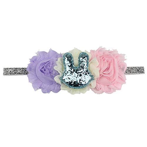 Bravetoshop Easter Sunday Babies Flower Headband Rabbit Ears Hair Band -