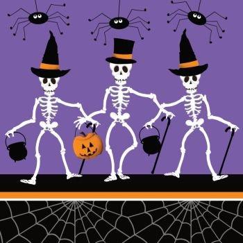 halloween dancing skeletons lunch napkins 18 pack - Dancing Halloween
