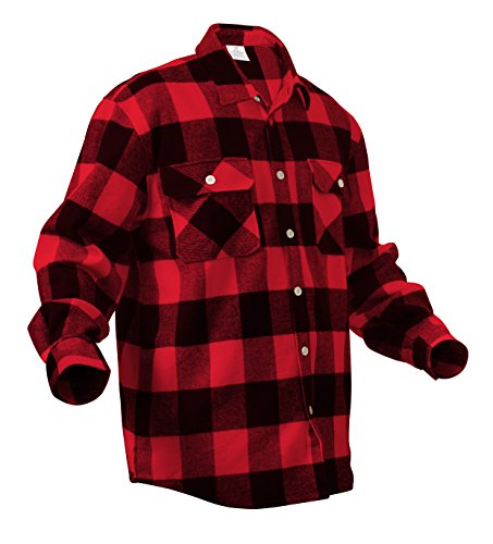 Rothco Heavy Weight Plaid Flannel Shirt, Red, (Red Flannel)