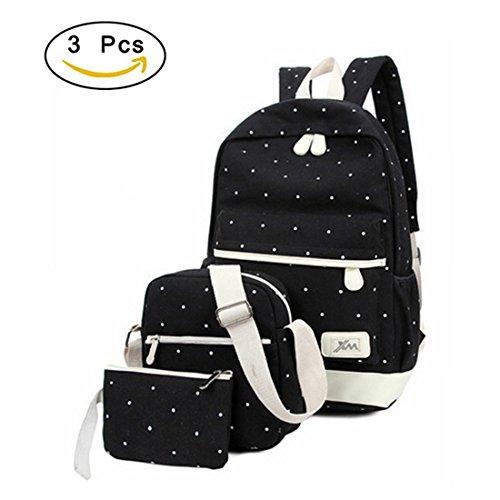 Canvas School Backpack Set  3 PiecesTeenagers Girls School Bookbag Laptop Lightweight Shoulder Bags Cute Bookbag