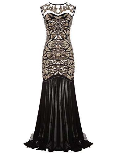 FAIRY COUPLE 1920s Floor-Length V-Back Sequined Embellished Prom Evening Dress D20S004(S,Gold Black) by FAIRY COUPLE