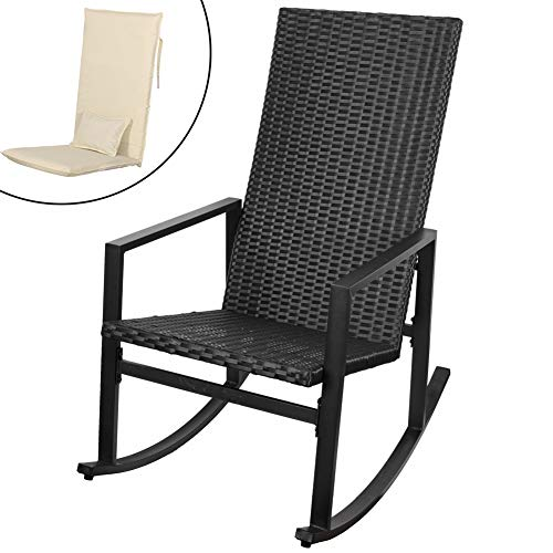 Sundale Outdoor Indoor Wicker Rocking Chair with Cushion and Pillow All- Weather Rocker Armchair Rattan Furniture for Patio, Pool, Deck, Home, Weight Capacity 220 LBS, Light Yellow (Vintage Wicker Rocker)