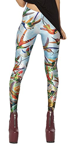 QZUnique Women's Happy Magpie Digital Print Ankle Length Elastic Leggings]()