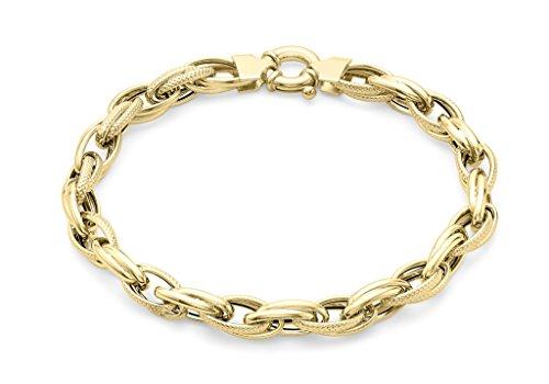 """Jewellery World Bague en or jaune 9carats texturé Bracelet Femme-19cm/7,5"""""""