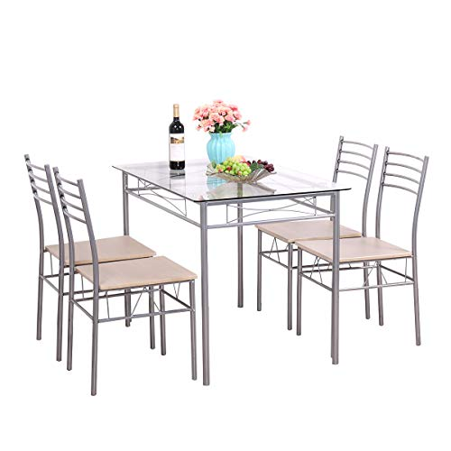 JAXPETY 5PCS Glass Dinning Table Set 4 Upholstered Chairs Kitchen Breakfast Furniture Silver