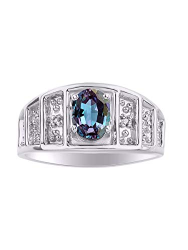 Classic Oval Alexandrite/Mystic Topaz & Diamond Ring Set in Sterling Silver .925 June Birthstone