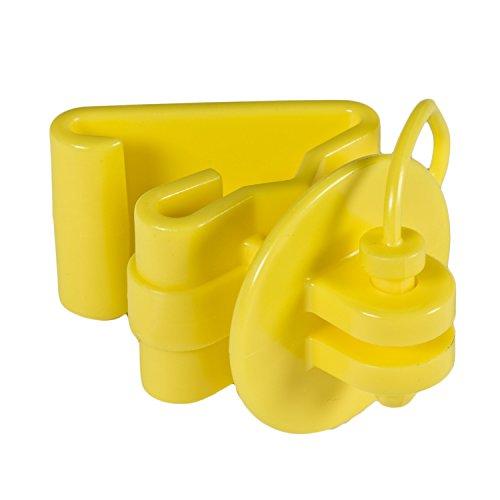 Zareba ITPLY-Z Pin-lock T-Post Insulator, Yellow, 25 per Bag