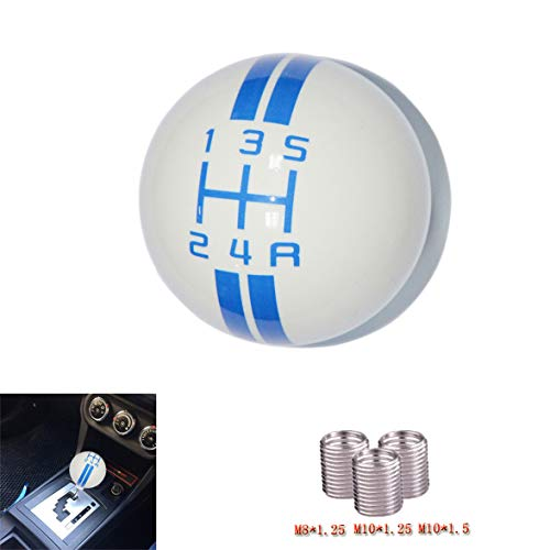 SMKJ 5 Speed Mustang Blue line Shift Knob Car Gear Stick Shift Shifter Knob Automatic Manual Shifter Knob Suitable for Most Transmission Vehicles