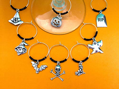 Halloween Theme Wine Charms, Halloween Gift. Witch, Jack-o-lantern, Bat, Ghost, Skull and crossbones. Set of 4 to Set of 8. -