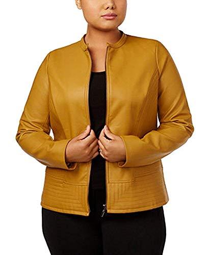 Alfani Plus Size Faux-Leather Collarless Jacket (3X, Tawny Gold) (Alfani Womens Jacket)