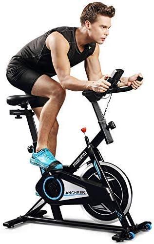 Profun Bicicleta Estática de Spinning Profesional, Ajustable Resistencia, Pantalla LCD, Bicicleta Fitness de Gimnasio Ejercicio con Volante de Inercia, Sillín Ajustable, Máx.130kg (Negro + Azul 2): Amazon.es: Deportes y aire libre