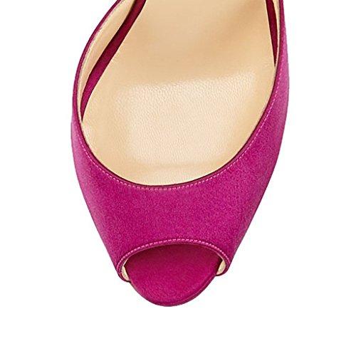 Jushee - Zapatos de tacón  mujer Rojo - rosa (b)
