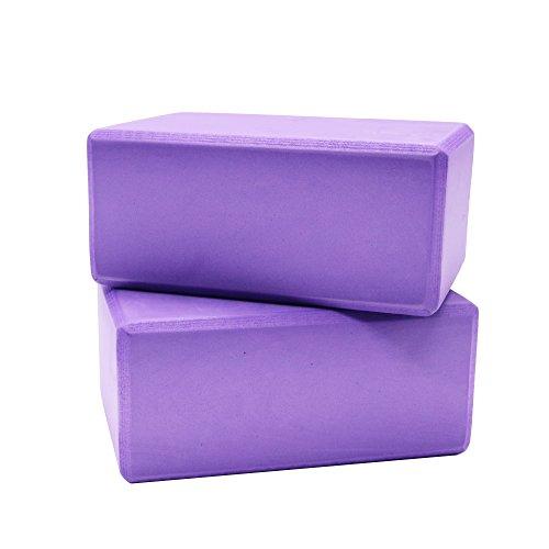 Buorsa 2 PCS High Density Yoga Foam Exercise Block 9''x6''x4''(Purple)