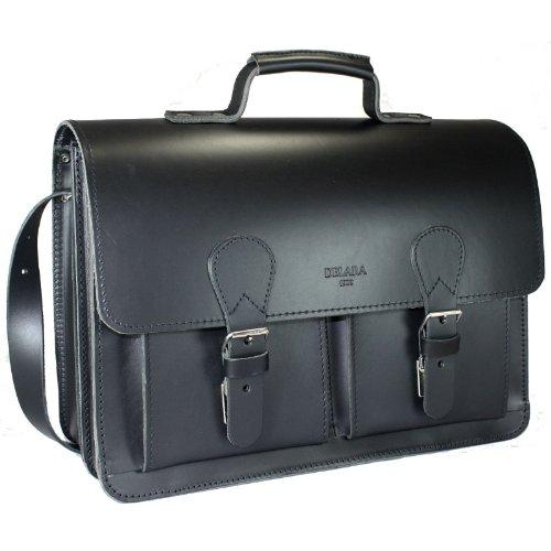 DELARA Cartella molto spaziosa in pelle nero con tracolla e supporto spalla - Made in Germany
