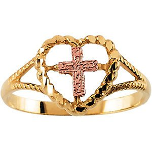 14k Yellow and Rose Gold Heart and Cross Ring, Size 7 by The Men's Jewelry Store