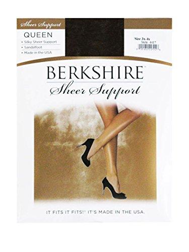 Silky Berkshire Sheer Queen (Berkshire Queen Silky Sheer Support Pantyhose - Control Top Sandalfoot 4417, Off Black, Queen Petite)