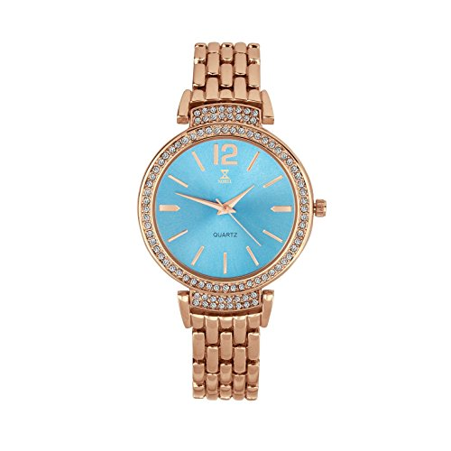 NOBEL Classy Elegant Ladies Wristwatch with Rose Gold Bracelet and Crystal Case - Quartz Movement