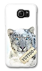 Samsung S6 Case,VUTTOO Cover With Photo: Snow Leopard For Samsung Galaxy S6 - PC White Hard Case