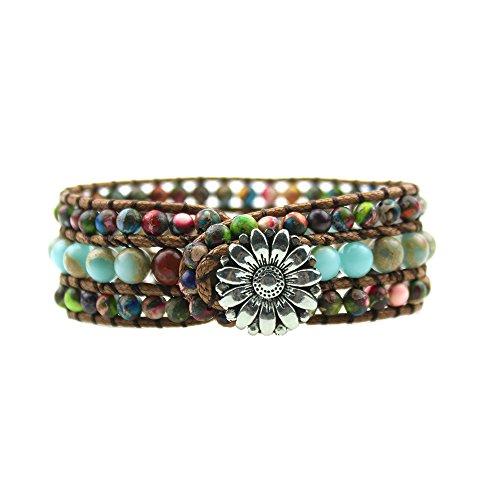 IUNIQUEEN Rainbow Natural Stone Beads Friendship Statement Wrap Imperial Jasper Bracelets Collection for Women (round beads style) - Jasper Round