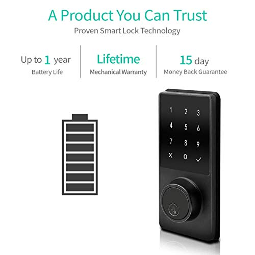 Electronic Deadbolt Smart Door Lock, LED Touch Screen Keypad, Bluetooth Smart Phone Enabled Keyless Access, Easy to Install, Oaks Smart Lock (Smart Lock) by OAKS LABS (Image #3)