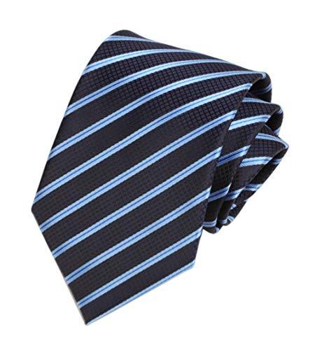 Men's Navy Blue Geometric Striped Tie Trendy Patterned Fashion Suit Suit Necktie ()