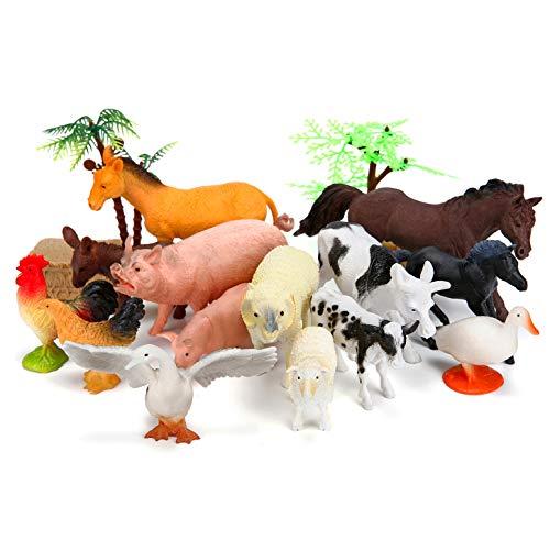BOLMAZ Farm Animals Figures Toys, 26PCS Realistic Jumbo Plastic Farm Figurines Playset Includes Fences, Learning Educational Toys for Boys Girls Toddlers Bath Cupcake Topper Birthday Set