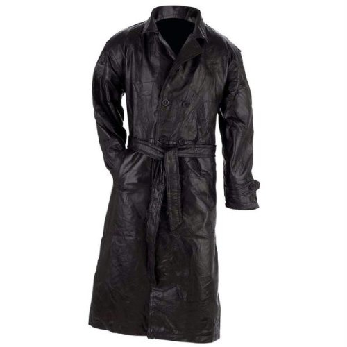 (Giovanni Navarre Leather Trench Coat -)