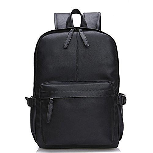 Mefly El aceite Wax Leather mochila para hombres viajan mochilas diseño occidental de cuero estilo Mochila escolar,azul Black