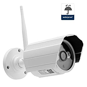 Security Camera, NexGadget Waterproof Wireless IP Camera, IR Night Vision, Motion Detection, Video Monitor, Built-in 8G Micro SD Card, P2P Home Surveillance System Network WiFi Outdoor Bullet Camera