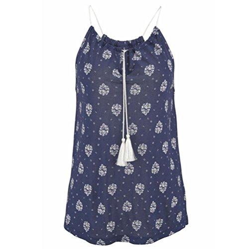 Kangma Women Summer V-Neck Sleeveless Vest Shirt Shirt Blouse Tank Tops Blue