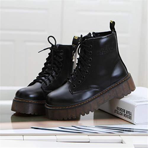 Oxford Negro SeñOras Zapatos Cuero De Tacones Cordones CuñAs Casuales Plataformas Altos Motos Mujeres Botines wf0BOPT