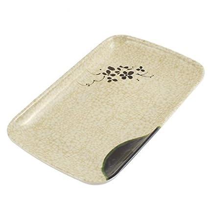 DealMux Flor Imprimir Cozinha Retângulo Food Design placa prato toalha de bandeja bege