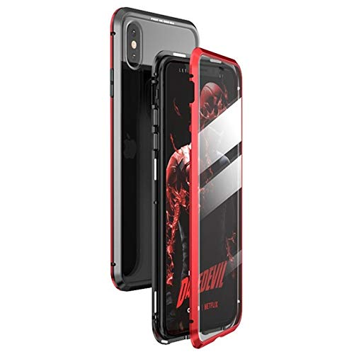 Magnetic Case for iPhone X XS MAX 7 8 Plus Coque Metal Phone Fundas Cover Double Sided Tempered Glass 360 Full Protective Carcasa (iPhone Xs Max,Black ...