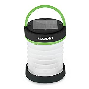 Suaoki Led Camping Lantern Lights Rechargeable Battery (Powered By Solar Panel and USB Charging) Collapsible Mini Flashlight for Outdoor Hiking Camping Tent Garden Patio(Emergency Charger for Phone, Water-Resistant, Green)