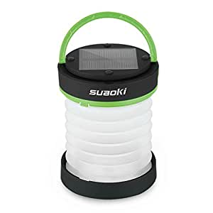 SUAOKI Led Camping Lantern Lights Rechargeable Battery (Powered By Solar Panel and USB Charging) Collapsible Flashlight for Outdoor Hiking Tent Garden (Emergency Charger for Phone, Water-Resistant)