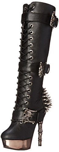 Demonia Muerto-2028, Botas de Estar por Casa para Mujer Negro (Negro (Blk Vegan Leather/Pewter Chrome))