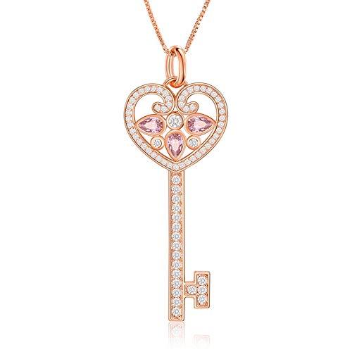 SKA Jewelry Heart Key Necklace for Girls Women CZ Love Key Pendant Necklace Adjustable 20