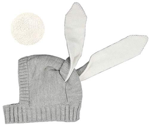 Baby Boys Girls Fleece Lining Cute Rabbit Bunny Ear Cap Earflap Hat Newborn Infant Kids Knitted Autumn Winter Warm Hat (Grey)