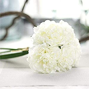 AUKMONT Artificial Peony Flowers Bouquets Silk Fake Flower Leaf for Wedding, Party, Home Decoration (Ivory) 63