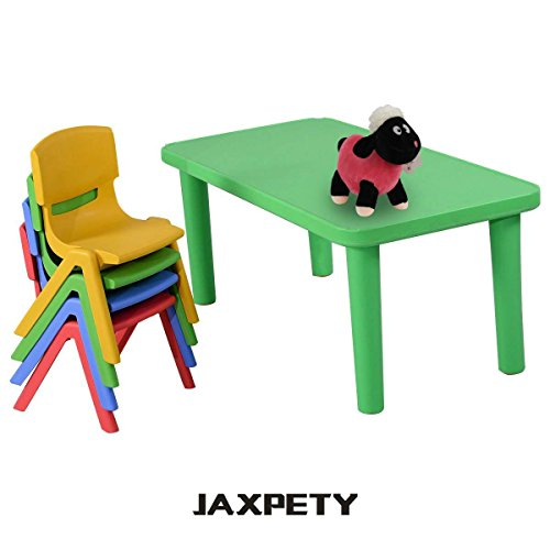 JAXPETY Stackable Kids Plastic Table and 4 Chairs Set Colorful Play School Home Fun Learn Furniture …