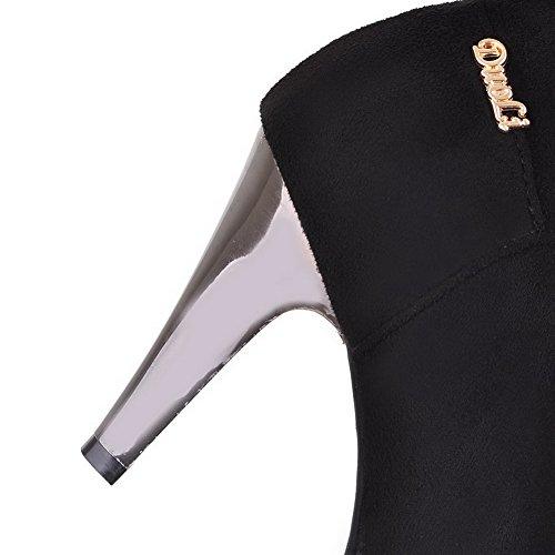 Amoonyfashion Womens Smerigliato Cerniera Tacco Tacco Alto Stivali Alti In Alto Nero