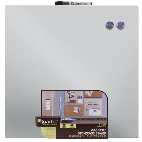 Quartet Magnetic Dry-Erase Board Tile, 17 x 17 Inches, Frameless, Assorted Surface Colors, Modular (48116) (Dry Squares Erase)