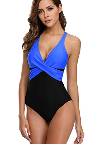 anfilia Women Tummy Control One Piece Swimsuit Criss Cross Splice Bathing Suit