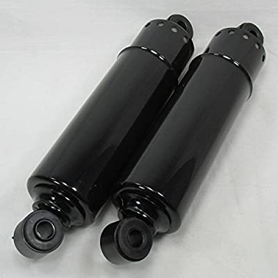 """OE Style 11"""" GLOSS BLACK Full Cover Rear Lowering Shocks for 1973 - 1986 Harley Big Twins - 1"""" Drop - Replaces Harley PT# 54509-73A - Eye to Eye Mounts - Motorcycle Chopper Bobber"""