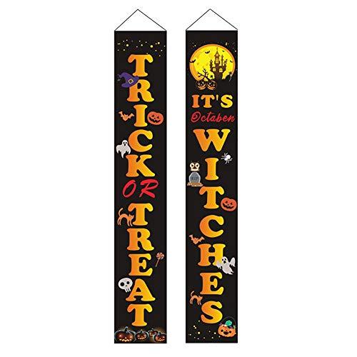 WISREMT Pareado de Halloween, decoraciones novedosas, letrero de porche para fiesta en casa, guirnalda para colgar en la puerta del patio, 71 × 12 pulgadas